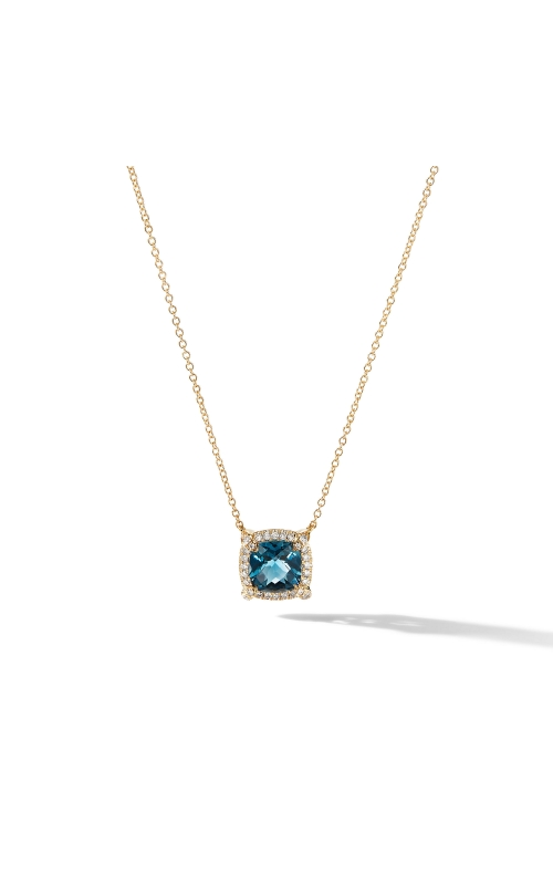 Petite Chatelaine® Pavé Bezel Pendant Necklace in 18K Yellow Gold with Hampton Blue Topaz product image