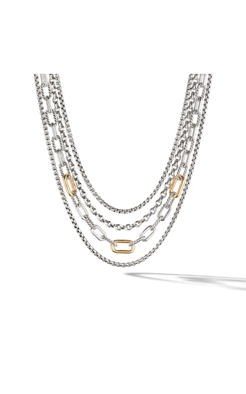 Four Row Mixed Chain Bib Necklace with 18K Yellow Gold product image