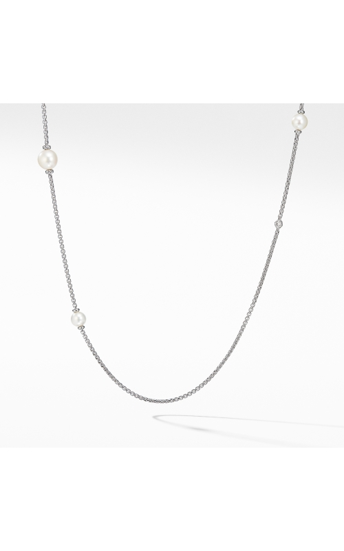Pearl Cluster Chain Necklace with Diamonds product image