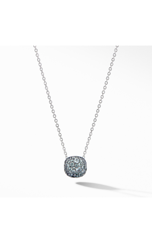 Cushion Stud Pendant Necklace in 18K White Gold with Pavé Color Change Garnet product image
