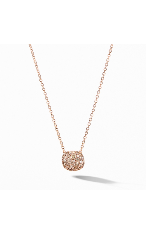 Cushion Stud Pendant Necklace in 18K Rose Gold with Pavé Cognac Diamonds product image