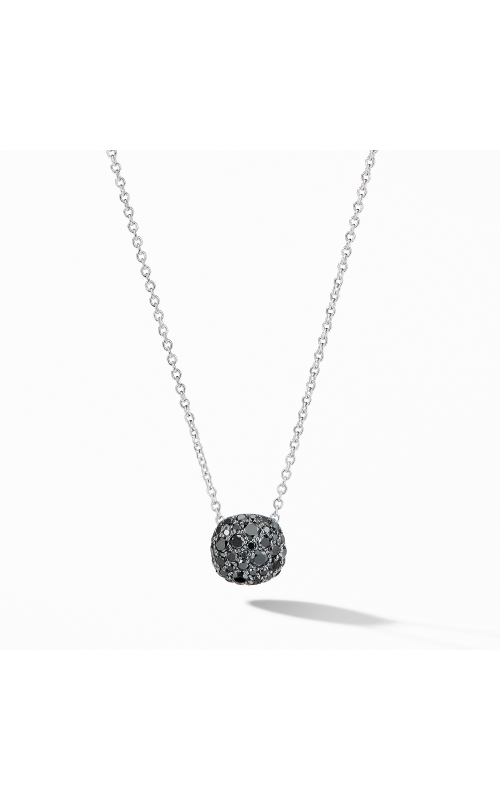 Cushion Stud Pendant Necklace in 18K White Gold with Pavé Black Diamonds product image