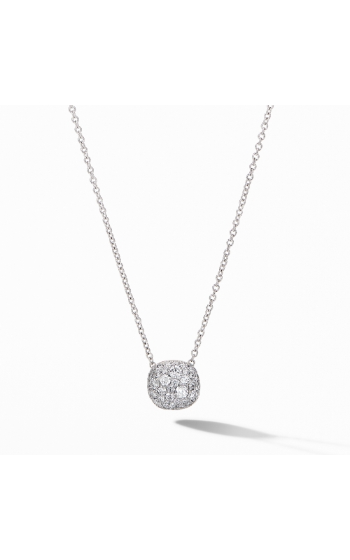 Cushion Stud Pendant Necklace in 18K White Gold with Pavé Diamonds product image