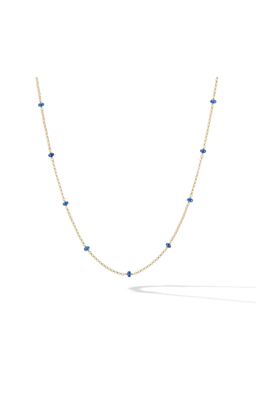 Cable Collectibles® Bead and Chain Necklace in 18K Yellow Gold with Blue Sapphires product image