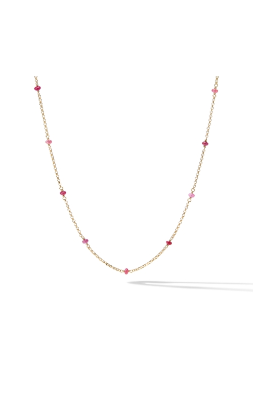 Cable Collectibles® Bead and Chain Necklace in 18K Yellow Gold with Rubies product image