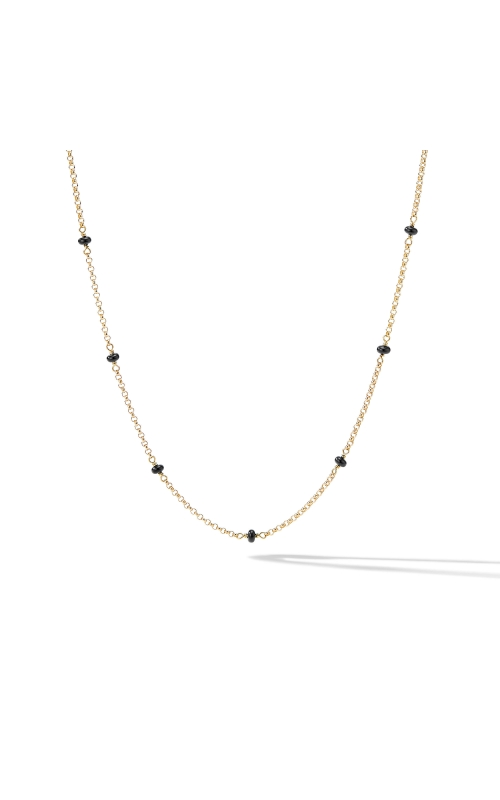 Cable Collectibles® Bead and Chain Necklace in 18K Yellow Gold with Black Spinels product image