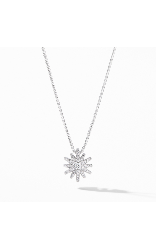 Starbust Pendant Necklace in 18K White Gold with Pavé Diamonds product image