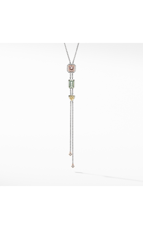 Novella Y Necklace with Morganite, Pavé Diamonds and 18K Rose Gold product image