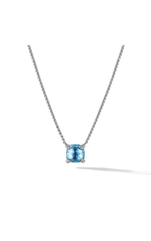 Chatelaine® Pendant Necklace with Blue Topaz and Diamonds product image