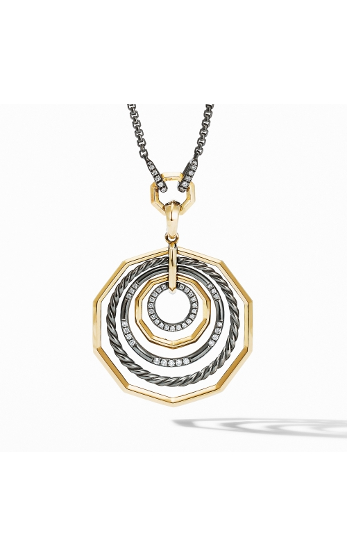 Stax Black and Gold Medium Pendant Necklace with Diamonds product image