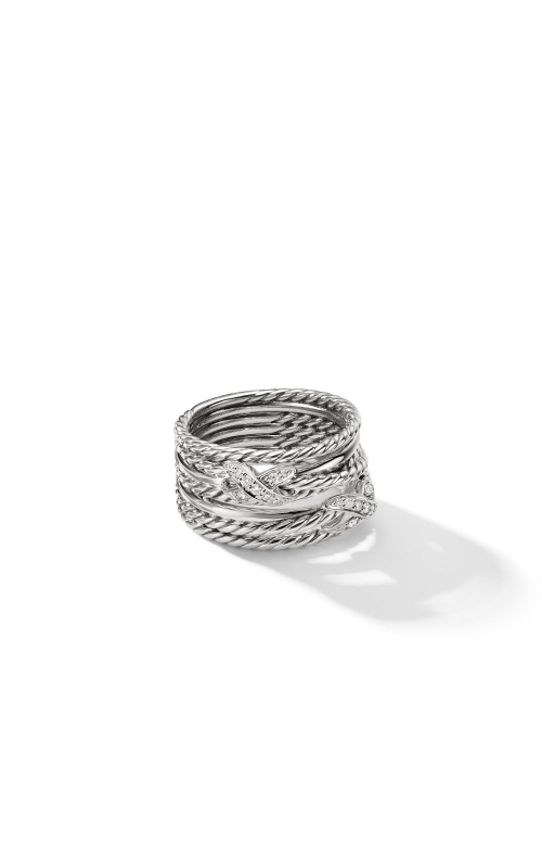 Double X Crossover Ring with Diamonds product image