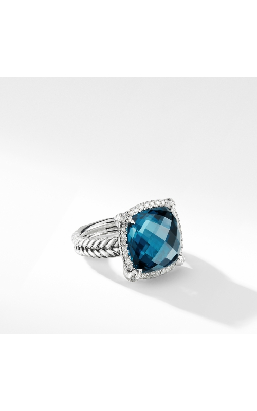 Chatelaine Pave Bezel Ring with Hampton Blue Topaz and Diamonds, 14mm product image