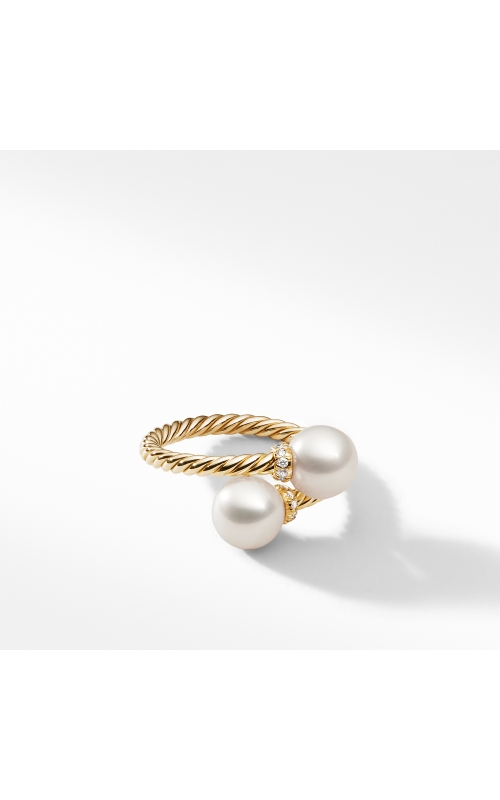 Bypass Ring with Pearls and Diamonds in 18K Gold product image