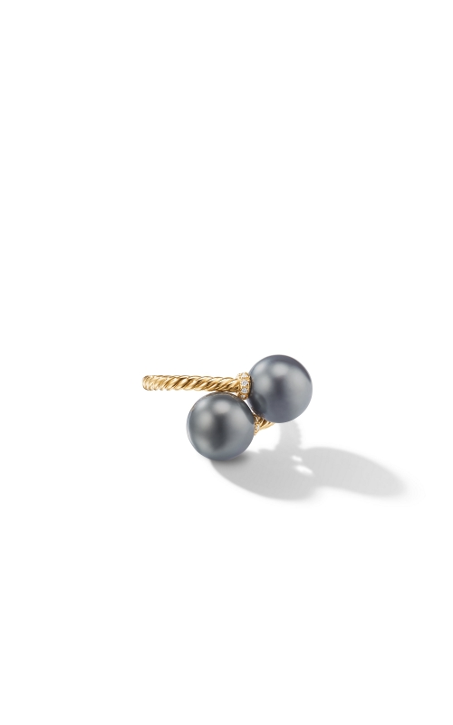Solari Bypass Ring with Diamonds and Tahitian Grey Pearls in 18K Gold product image