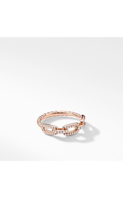 Stax Single Row Pave Chain Link Ring with Diamonds in 18K Rose Gold, 4.5mm product image