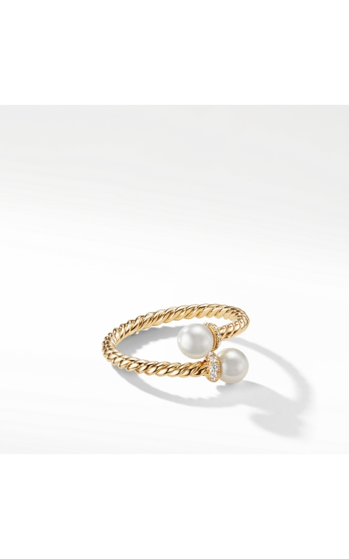 Petite Solari Bypass Ring with Cultured Pearl and Diamonds in 18K Yellow Gold product image