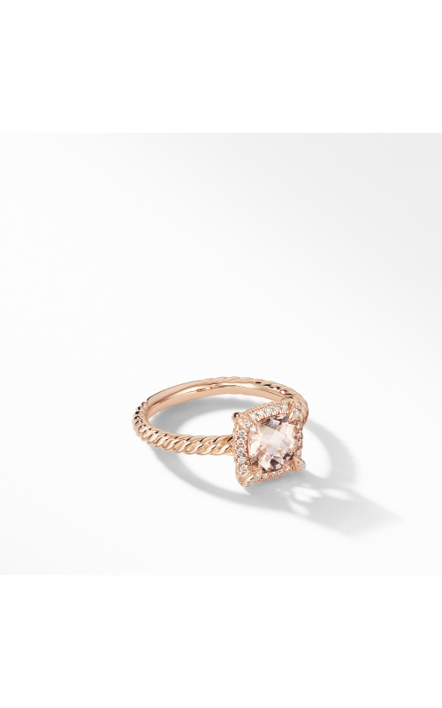 Petite Chatelaine® Pavé Bezel Ring in 18K Rose Gold with Morganite product image