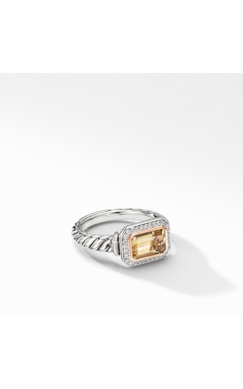 Novella Ring with Champagne Citrine, Pavé Diamonds and 18K Rose Gold product image