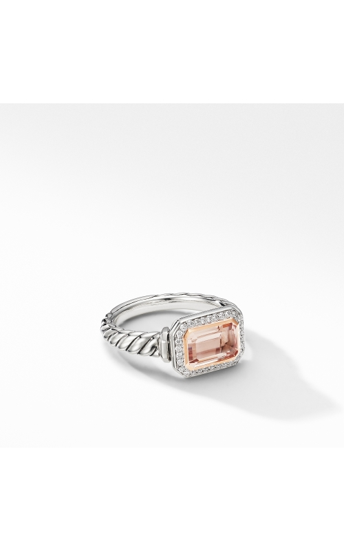 Novella Ring with Morganite, Pavé Diamonds and 18K Rose Gold product image