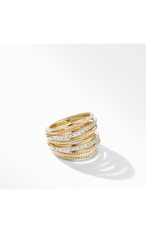 Crossover Wide Ring in 18K Yellow Gold with Diamonds product image