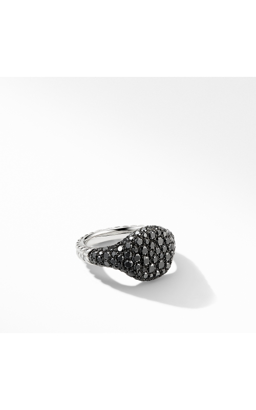 Mini Chevron Pinky Ring in 18K White Gold with Pavé Black Diamonds product image