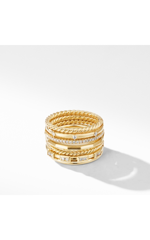 Stax Cable and Pavé Ring in 18K Yellow Gold product image