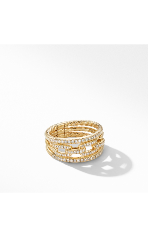 Stax Three-Row Chain Link Ring in 18K Yellow Gold and Diamonds product image
