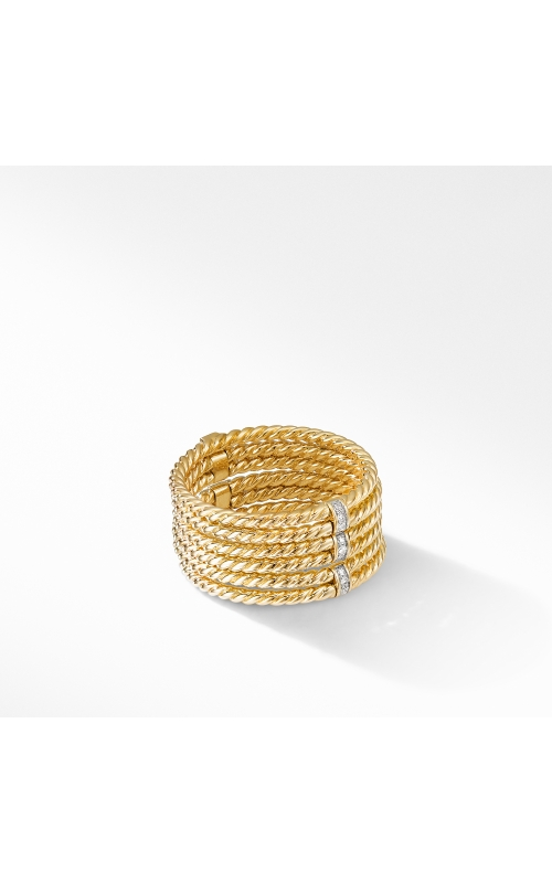 DY Origami 6-Row Cable Ring in 18K Yellow Gold with Diamonds product image