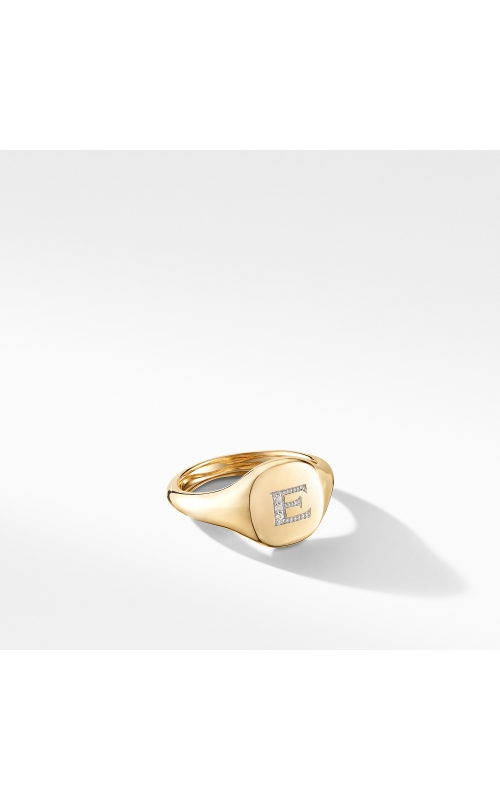 Mini DY Initial Pinky Ring in 18K Yellow Gold with Diamonds product image