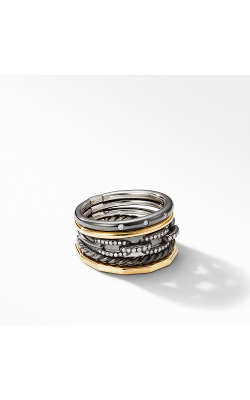 Stax Wide Ring in Blackened Silver with Diamonds product image