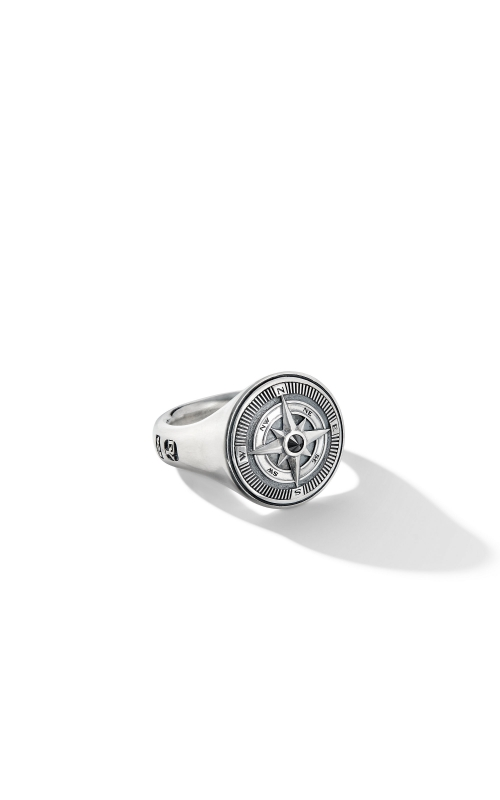 Maritime® Compass Signet Ring with Center Black Diamond product image