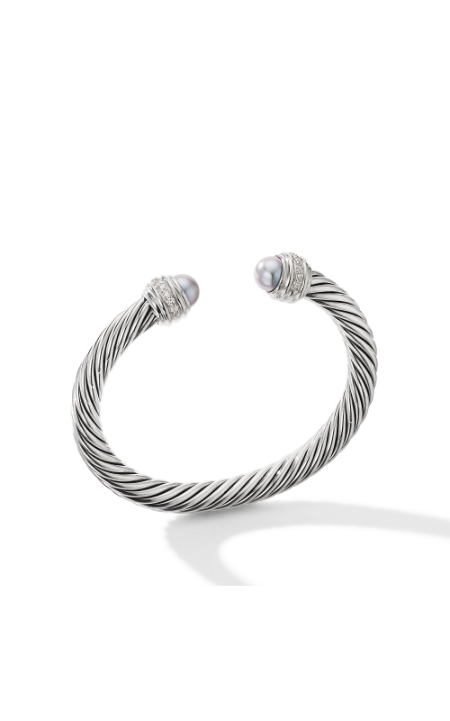 Cable Bracelet with Grey Pearls and Pavé Diamonds product image