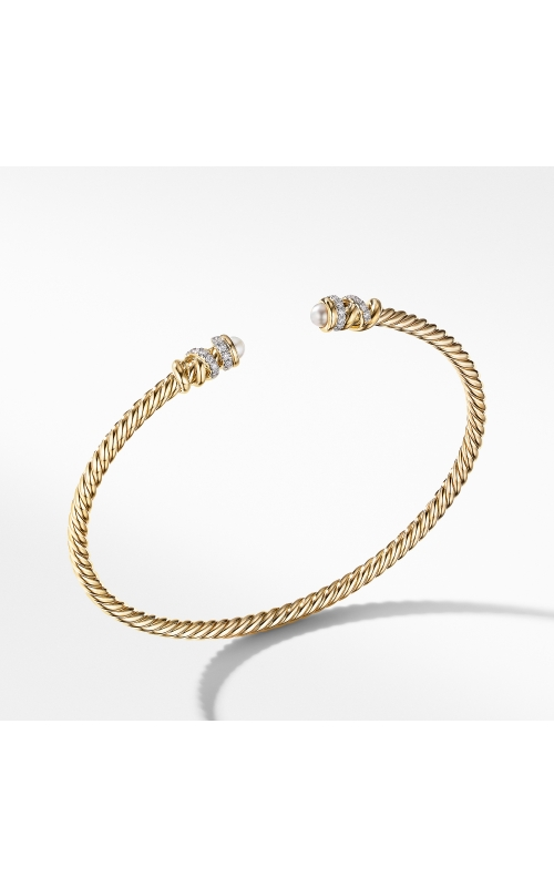 Petite Helena Open Bracelet in 18K Yellow Gold with Pearls and Diamonds product image