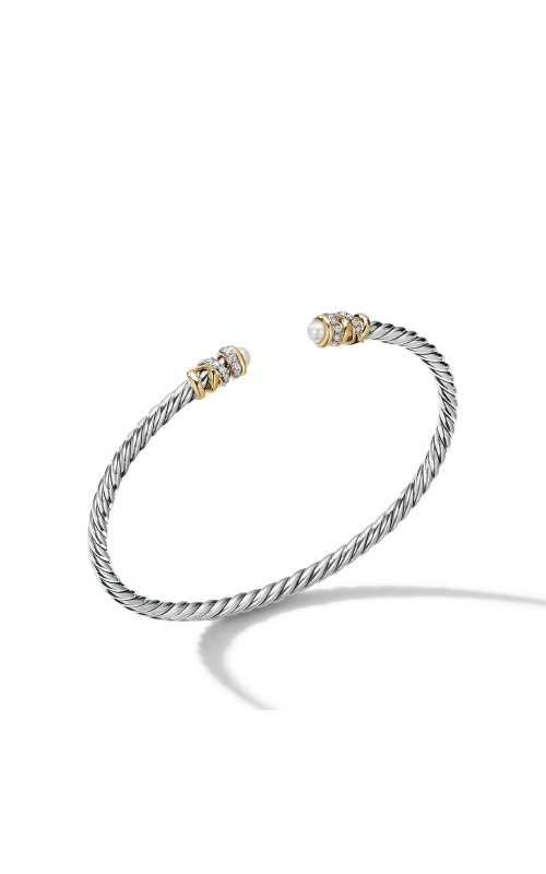 Petite Helena Open Bracelet with Pearls, 18K Yellow Gold and Diamonds product image