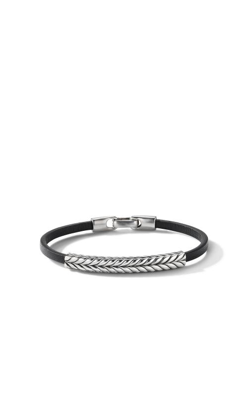 Chevron Black Leather ID Bracelet product image