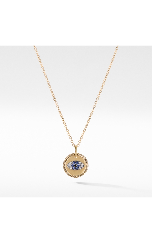 Cable Collectibles Evil Eye Charm Necklace with Blue Sapphire and Diamonds in 18K Gold product image