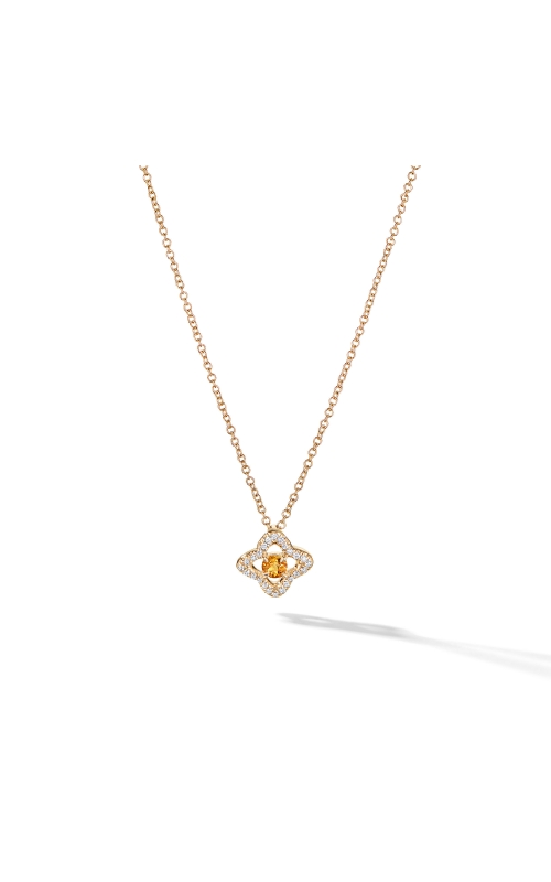 Venetian Quatrefoil® Necklace with Citrine and Diamonds in 18K Gold product image