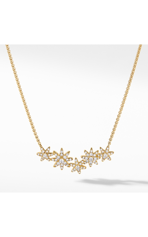 Starburst Cluster Station Necklace in 18K Yellow Gold with Pavé Diamonds product image