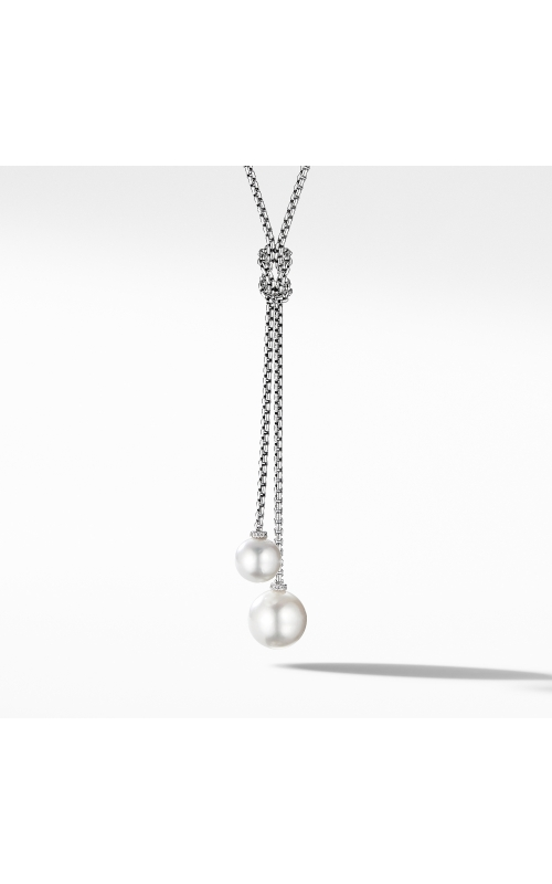 Solari Knot Necklace with Pearls and Pavé Diamonds product image