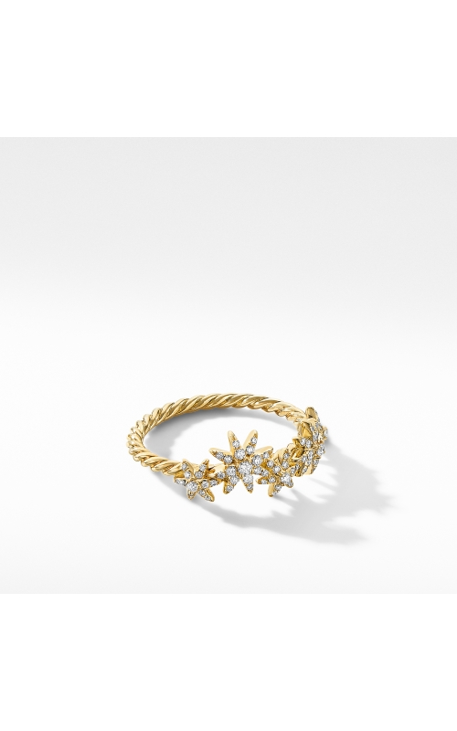 Starburst Cluster Band Ring in 18K Yellow Gold with Pavé Diamonds product image