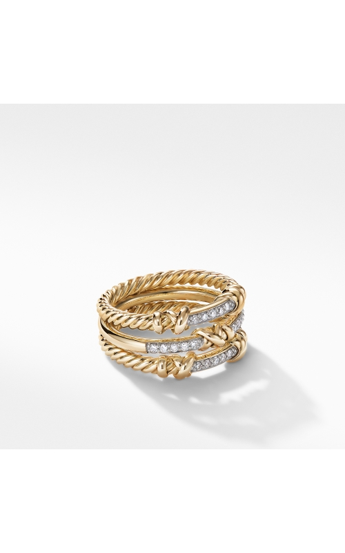Petite Helena Three Row Ring in 18K Yellow Gold with Diamonds product image