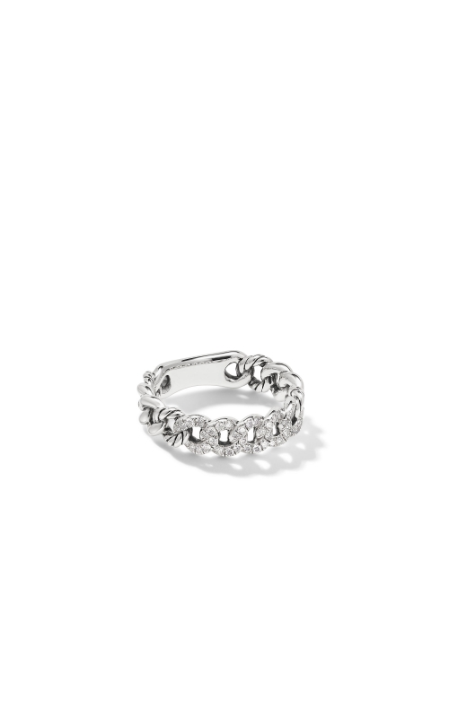 Belmont Curb Link Narrow Ring with Pavé Diamonds product image