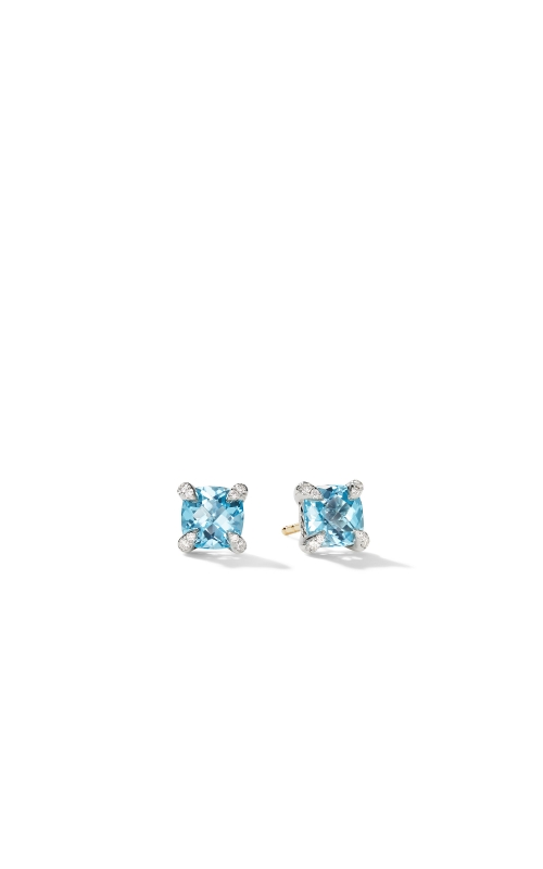 Chatelaine® Stud Earrings with Blue Topaz and Diamonds product image