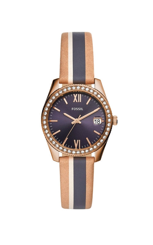 Fossil Ladies Scarlette Mini Three Hand Date Striped Sand Leather Watch ES4594 product image