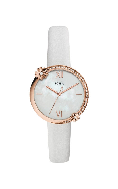 Fossil Presley Three Hand White Leather Watch ES4601 product image