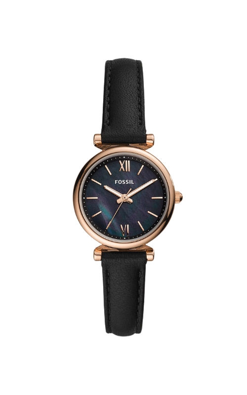 Fossil Ladies Carlie Mini Three Hand Black Leather Watch ES4700 product image