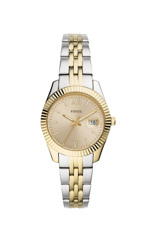 Fossil Ladies Scarlette Mini Three Hand Date Two Tone Stainless Steel Watch ES4949 product image