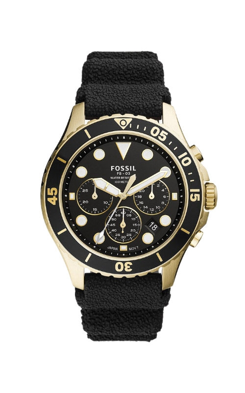 Fossil Men's FB 03 Chronograph Black Silicone Watch FS5729 product image