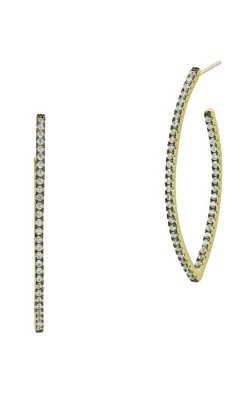 FREIDA ROTHMAN Signature Pave Pointed Hoop Earrings YRZE020237B-14K product image