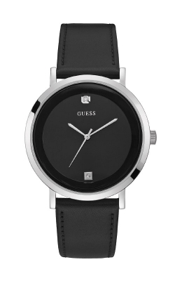 Guess Silver-Tone And Black Leather Watch GW0009G1 product image